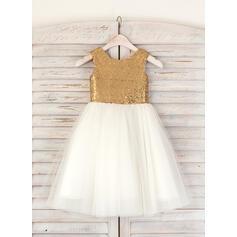 Vestidos princesa/ Formato A Comprimento médio Vestidos de Menina das Flores - Tule/Lantejoulas Sem magas Decote redondo (010091395)