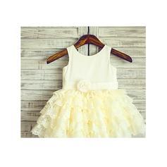 Decote redondo Vestidos princesa/ Formato A Vestidos de daminha Cetim/Tule Pregueado/fecho de correr Sem magas Coquetel (010212033)