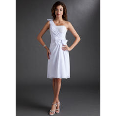 Estonteante Tecido de seda Sem magas Um ombro Pregueado Beading Curvado Vestidos de boas vindas (022212831)