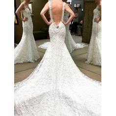 Chapel Train Trumpet/Mermaid Delicate Lace Wedding Dresses