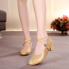 Kids' Ballroom Heels Pumps Sparkling Glitter With Ankle Strap Dance Shoes