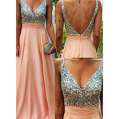 Sequins Chiffon V-neck Sleeveless Prom Dresses