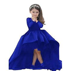 Scoop Neck Ball Gown Flower Girl Dresses Satin Sash Long Sleeves Asymmetrical (010211731)