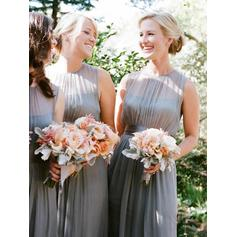 A-Line/Princess Floor-Length Scoop Neck Sleeveless Chiffon Bridesmaid Dresses