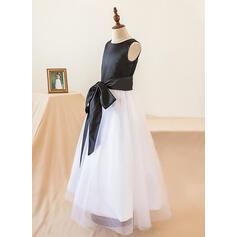 Forme Princesse Longueur ras du sol Robes à Fleurs pour Filles - Satiné Sans manches Col rond avec À ruban(s) (010103736)