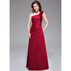 A-Line/Princess One-Shoulder Floor-Length Satin Bridesmaid Dress With Ruffle Flower(s)