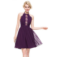 A-Line/Princess Halter Knee-Length Chiffon Homecoming Dresses (022214096)