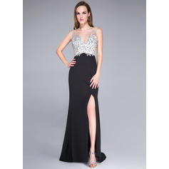 Sexy Trumpet/Mermaid Tulle Jersey Sweep Train Sleeveless Prom Dresses (018042784)