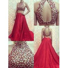 A-Line/Princess Halter High Neck Sweep Train Satin Prom Dresses With Beading