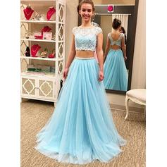 A-Line/Princess Scoop Neck Floor-Length Prom Dresses With Lace Beading