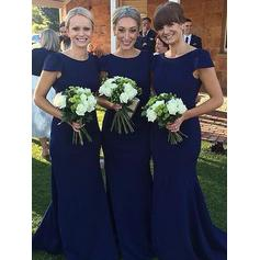 Bridesmaid Dresses Scoop Neck Sheath/Column Short Sleeves Floor-Length