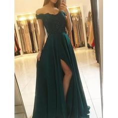 A-Line/Princess Chiffon Prom Dresses Glamorous Floor-Length Off-the-Shoulder Sleeveless (018219267)