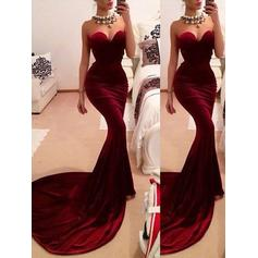 Simple Velvet Evening Dresses Trumpet/Mermaid Sweep Train Sweetheart Sleeveless (017210901)
