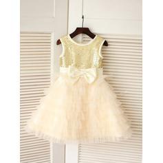 Scoop Neck A-Line/Princess Flower Girl Dresses Tulle/Sequined Bow(s) Sleeveless Knee-length (010211932)