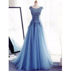 Tulle Sleeveless A-Line/Princess Prom Dresses Scoop Neck Appliques Lace Floor-Length