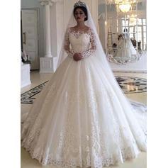 Motifs appliqués Dentelle Longues manches Robe Marquise - Tulle Robes de mariée (002219367)