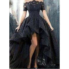 A-Line/Princess Off-the-Shoulder Asymmetrical Lace Prom Dresses