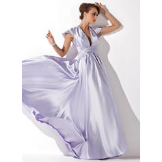V-neck Charmeuse Floor-Length Evening Dresses Sleeveless