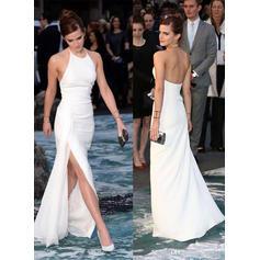 Fashion Chiffon Evening Dresses Sheath/Column Floor-Length Halter Sleeveless (017144642)