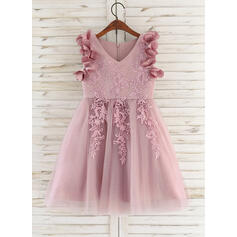 A-Line Knee-length Flower Girl Dress - Satin/Tulle/Lace Sleeveless V-neck With Flower(s)