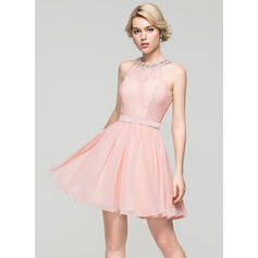 A-Line/Princess Scoop Neck Short/Mini Chiffon Cocktail Dress With Beading Sequins Bow(s)