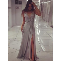 Chiffon Sleeveless A-Line/Princess Prom Dresses Scoop Neck Beading Split Front Sweep Train