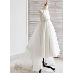 Forme Princesse Asymétrique Robes à Fleurs pour Filles - Tulle Sans manches Bretelles avec Dentelle/Strass (010091200)