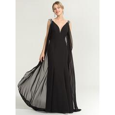 Tubo Decote V Longos Tecido de seda Vestido de festa com Beading lantejoulas