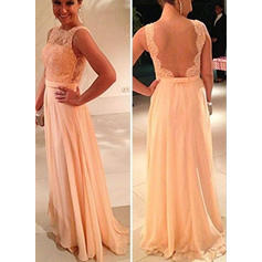 A-Line/Princess Scoop Neck Floor-Length Evening Dresses (017146018)