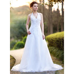 Satin Organza Sleeveless A-Line/Princess With Luxurious Wedding Dresses (002000386)