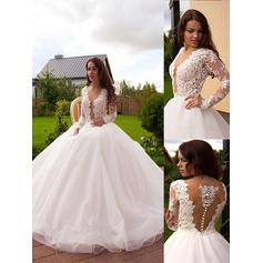Magnificent Deep V Neck Ball-Gown Wedding Dresses Court Train Tulle Long Sleeves