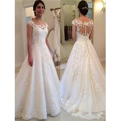 Elegant Sweep Train A-Line/Princess Wedding Dresses Scoop Tulle Sleeveless