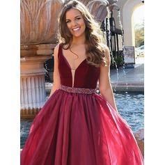 Vestidos princesa/ Formato A Beading Decote V com Organza de Vestidos de festa (017212109)