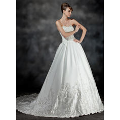 Ruffle Beading Sleeveless Sweetheart Satin Ball-Gown Wedding Dresses