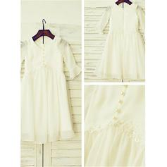 Scoop Neck A-Line/Princess Flower Girl Dresses Chiffon Ruffles Long Sleeves Tea-length