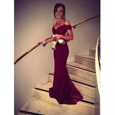Luxurious Evening Dresses Sweep Train Trumpet/Mermaid Sleeveless Off-the-Shoulder (017216897)