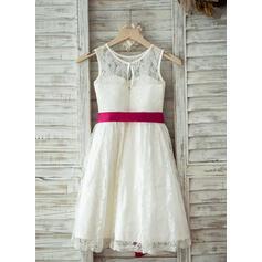 Vestidos princesa/ Formato A Comprimento médio Vestidos de Menina das Flores - Renda Sem magas Decote redondo com Cintos (010093389)