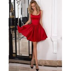 A-Line/Princess Square Neckline Short/Mini Satin Homecoming Dresses With Ruffle (022212448)