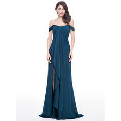 A-Line/Princess Off-the-Shoulder Sweep Train Chiffon Evening Dress With Split Front Cascading Ruffles (017051639)