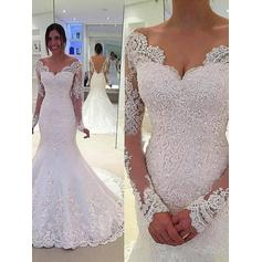 Gorgeous Chapel Train Trumpet/Mermaid Wedding Dresses Off-The-Shoulder Lace Long Sleeves