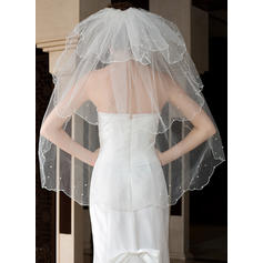 Fingertip Bridal Veils Tulle Three-tier Classic With Scalloped Edge Wedding Veils