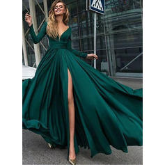 A-Line/Princess V-neck Chiffon Long Sleeves Floor-Length Ruffle Split Front Evening Dresses