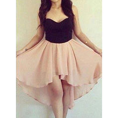 Chiffon Sleeveless Asymmetrical Sweetheart Homecoming Dresses