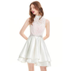 A-Line/Princess High Neck Asymmetrical Taffeta Homecoming Dresses With Beading Sequins