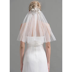 Shoulder Veils Tulle One-tier Classic With Cut Edge Wedding Veils