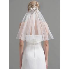 Schulterlange Schleier Tüll Einschichtig Klassische Art mit Schnittkante Brautschleier