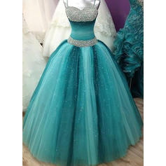 Tulle Sleeveless Ball-Gown Prom Dresses Sweetheart Beading Floor-Length