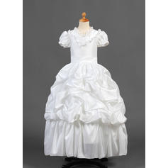 Chic V-neck A-Line/Princess Flower Girl Dresses Floor-length Taffeta Short Sleeves (010015770)