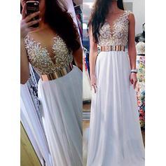 A-Line/Princess Chiffon Prom Dresses Sash Beading Sequins V-neck Sleeveless Floor-Length
