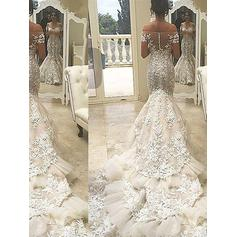 Lace Beading Appliques Trumpet/Mermaid With Tulle Wedding Dresses (002148024)